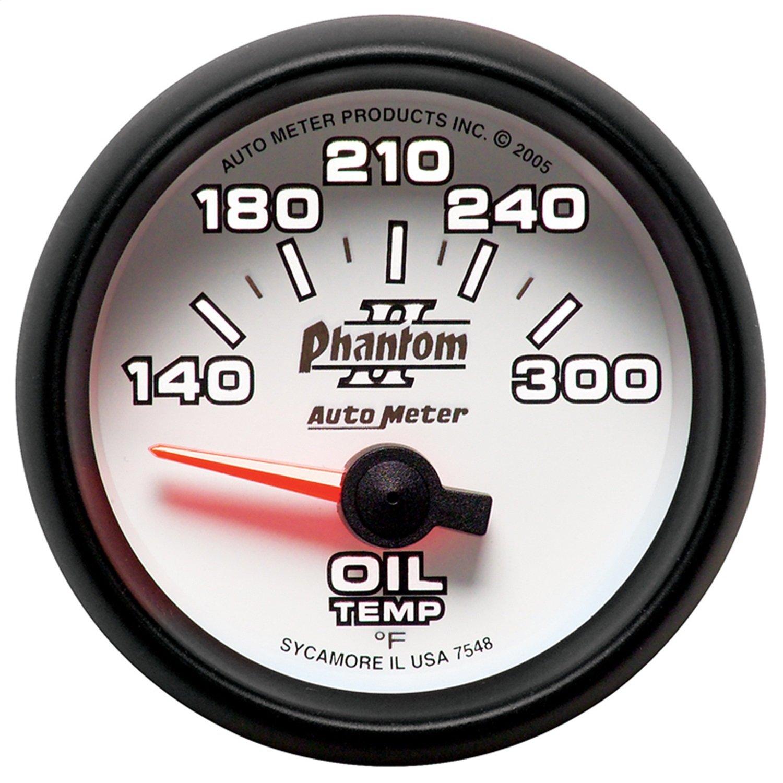 "Auto Meter 7548 Phantom II 2-1/16"" 140-300 F Short Sweep Electric Oil Temperature Gauge"