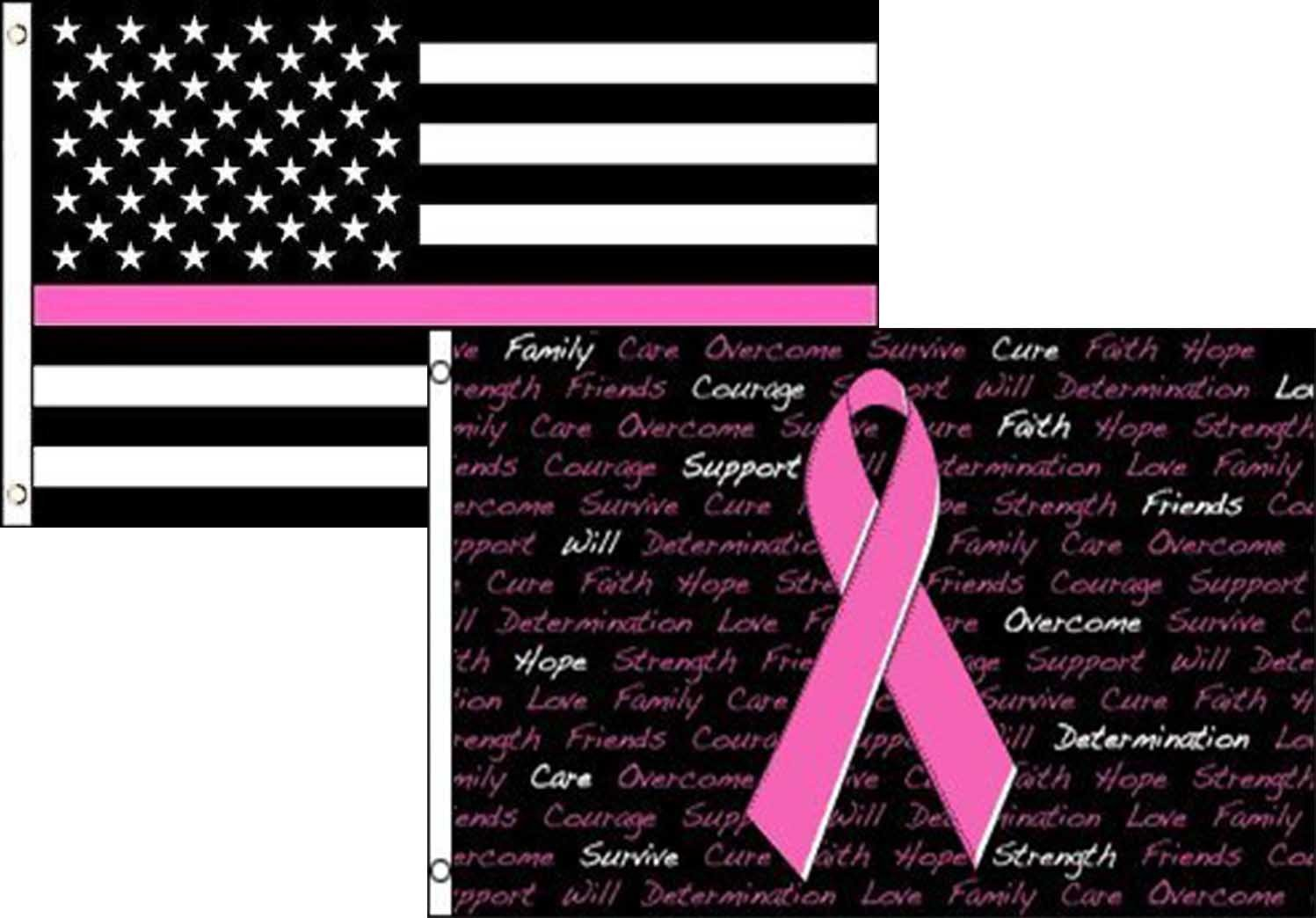 3x5 Breast Cancer Awareness Pink Ribbon White Flag 3/'x5/' Banner Brass Grommets