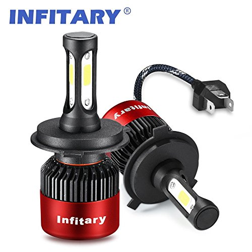 Infitary LED Headlight Bulbs H4 Conversion Kits High/Low Beam Auto Headlamp Dual Beam Car Headlight 72W 6500K 8000LM Extremely Super Bright COB Chips- 1 Pair- 3 Year Warranty (H4/9003/HB2 Red)