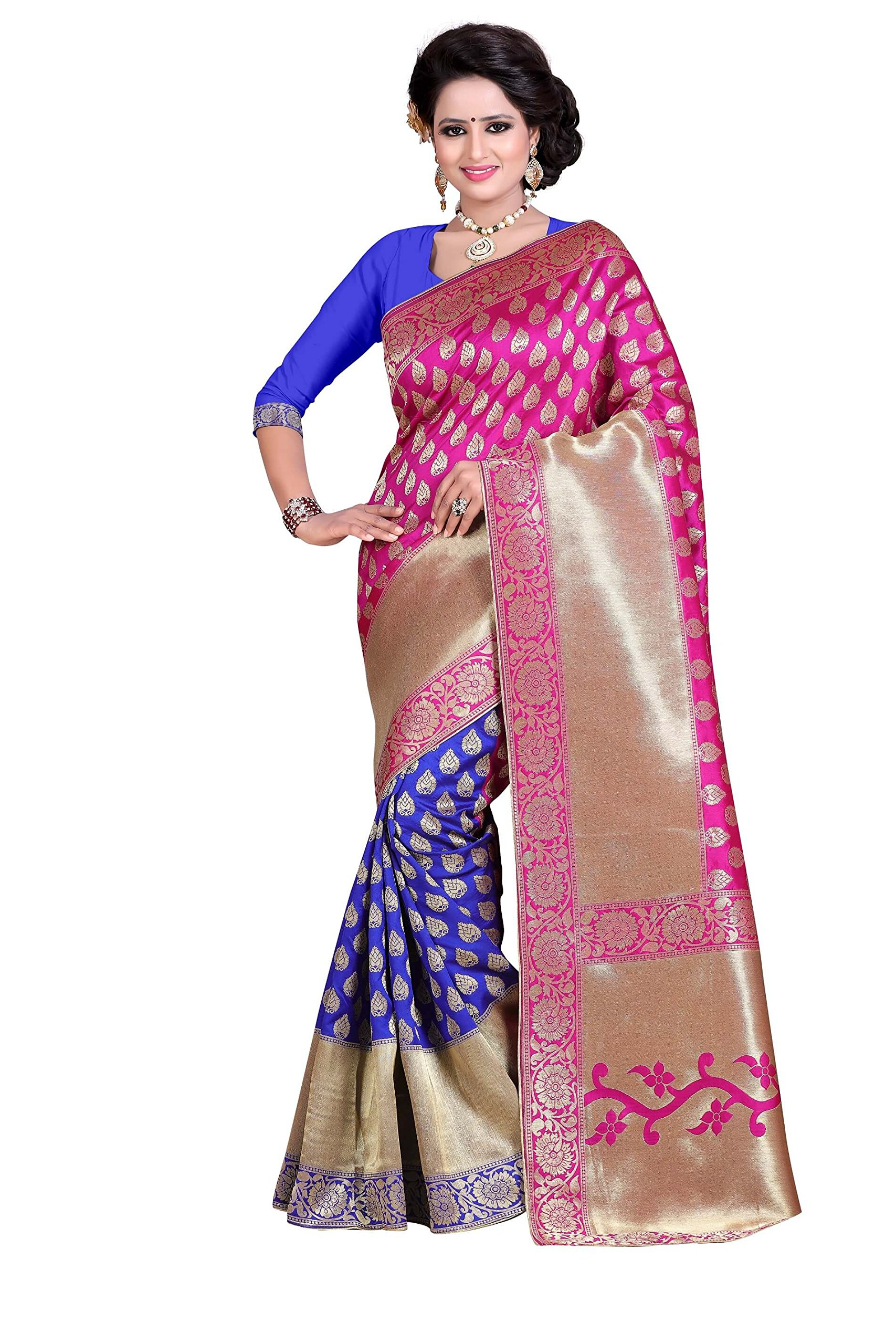 Rajnandini Women's Banarasi Silk Weaving Work Saree(JOPLLB1025_Pink And Blue_Free Size)