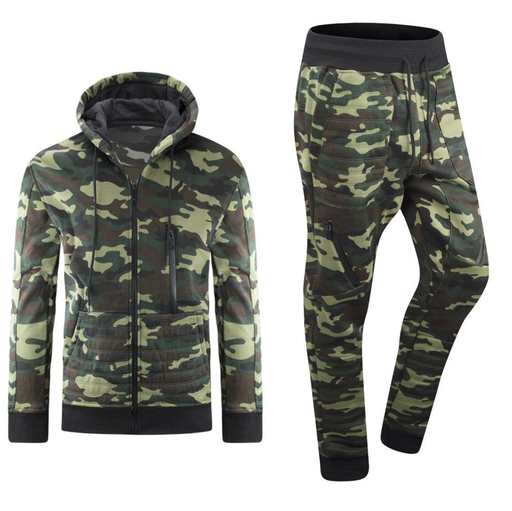 Camouflage Sportscholen Nieuwe mannen Sets 2018 Mode Sportkleding Trainingspakken Sets mannen Shark Hoodies + Broek casual Uitloper Suits