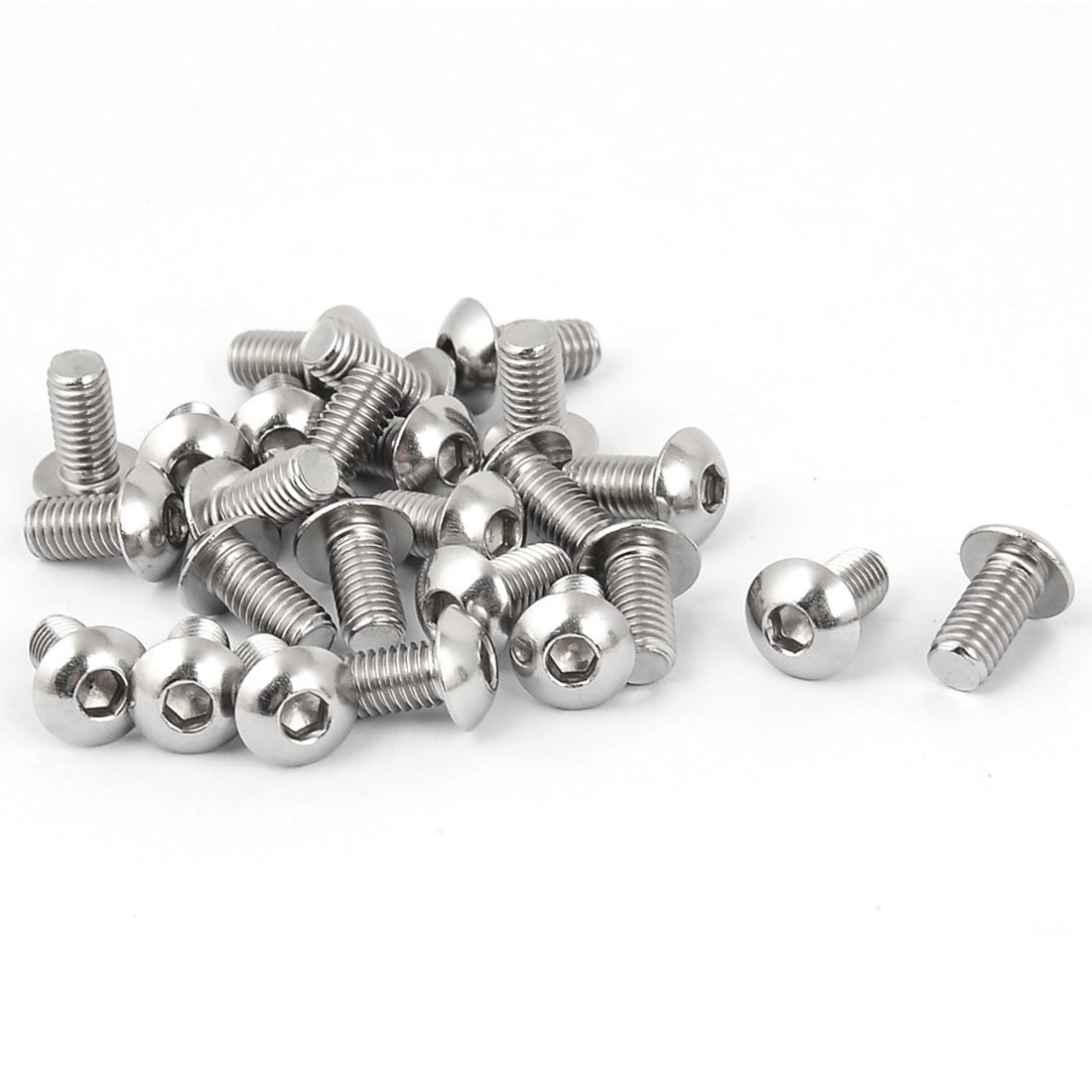 uxcell M5 x 10mm Stainless Steel Button Head Socket Cap Screw 25 Pcs