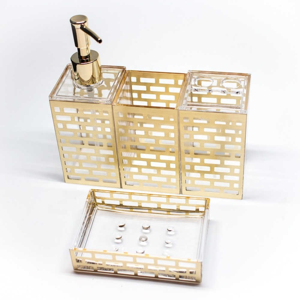 Made in Taiwan Acrylic Mold Injection Bathroom Organizer Set with Gold Block Pattern