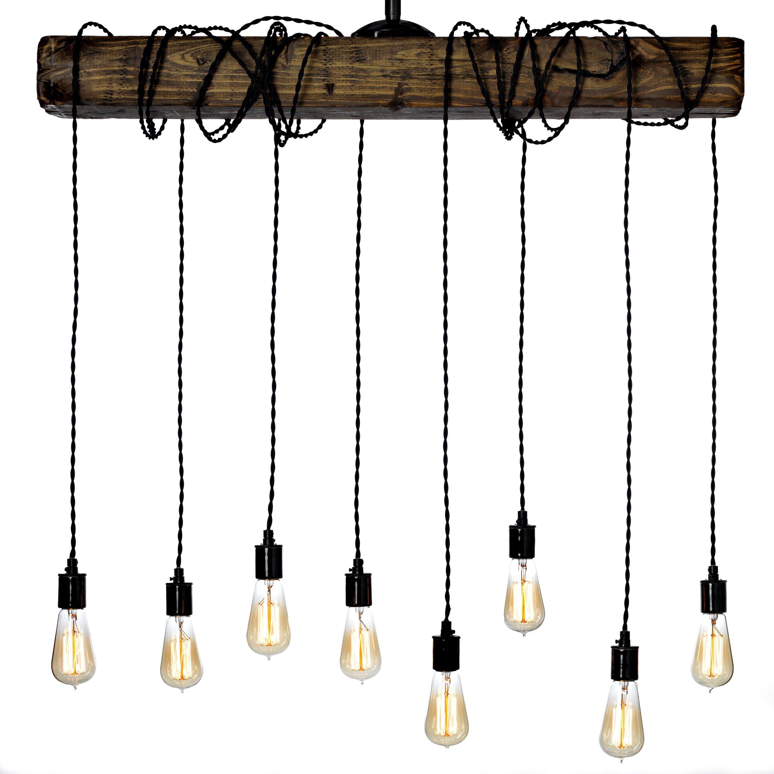 Buy Farmhouse Style Light Fixture Wrapped Wood Beam Antique Decor Chandelier Pendant Lighting Vintage Kitchen Bar Industrial Island Billiard And Edison Bulb Decor Natural Reclaimed Style Wooden In Cheap Price