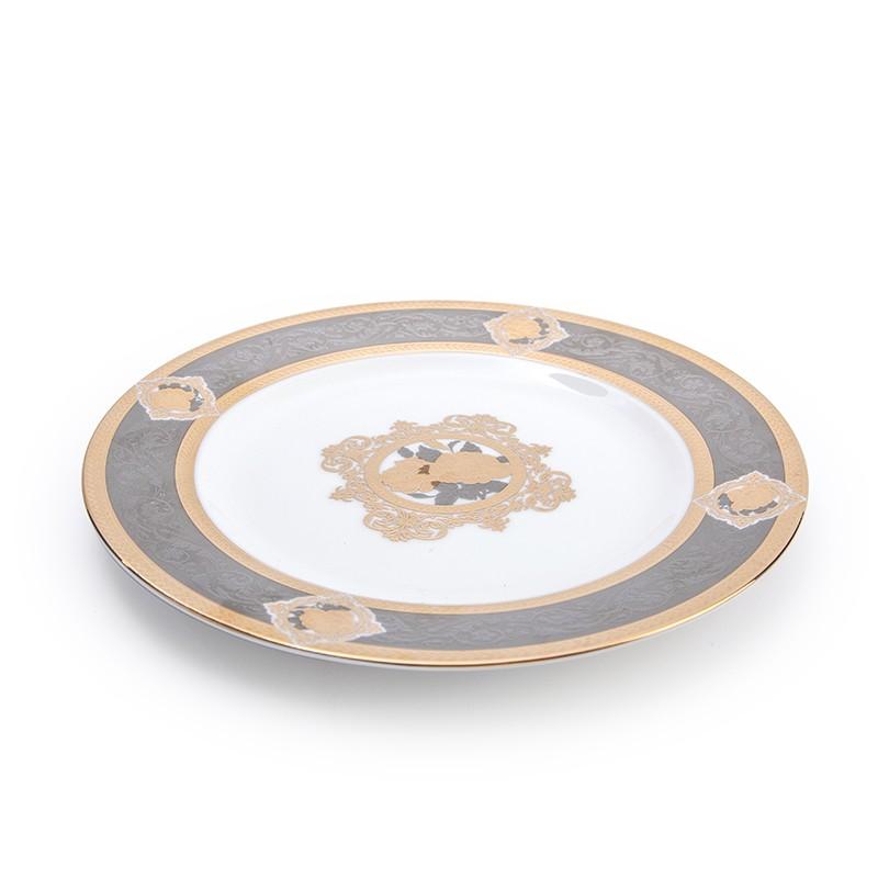 product-Elegance Embossed Plate Hotel Restaurant Crockery Tableware Dinner Plate, Bone China Charge