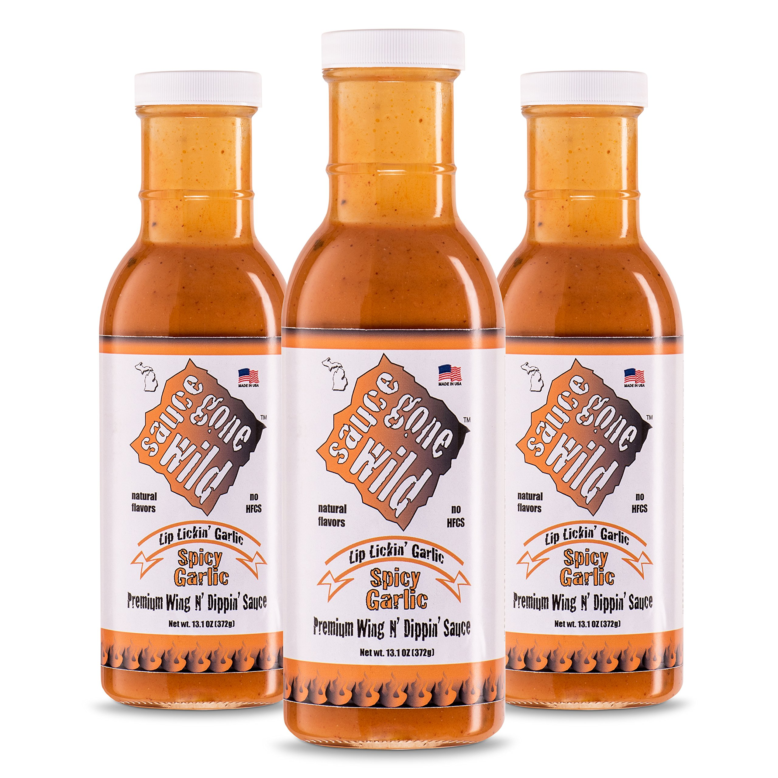 Sauce Gone Wild Wing Sauce - Spicy Garlic Flavor -13.1oz - 3 Bottles - Hot Marinade for Grilling & Cooking Chicken - Made in USA - Tasty Restaurant Style Wings at Home