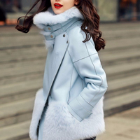 Shearling Lined Sheepskin Leather Winter Coat for Women