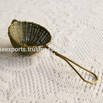 One cup Antique Brass Small Size Wire mesh Metal Tea Strainer
