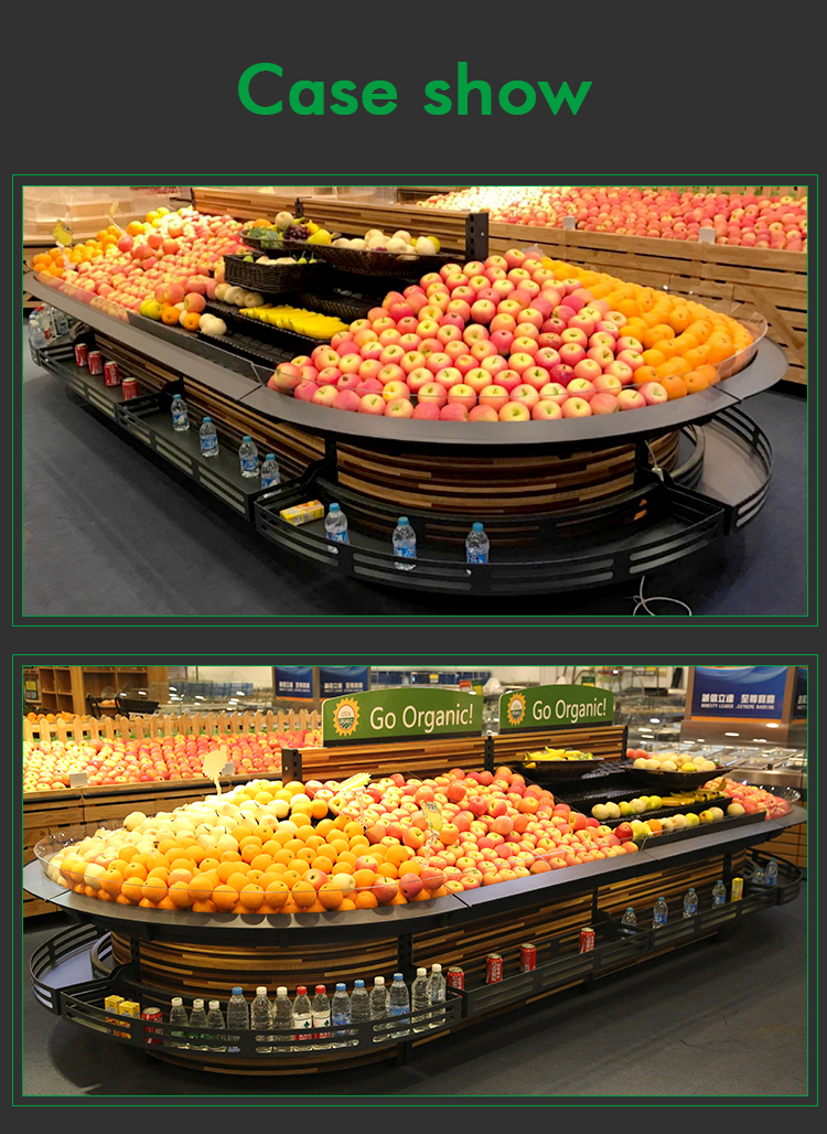 supermarket solid deck Produce retail display cases and shelving for fresh vegetable and fruit