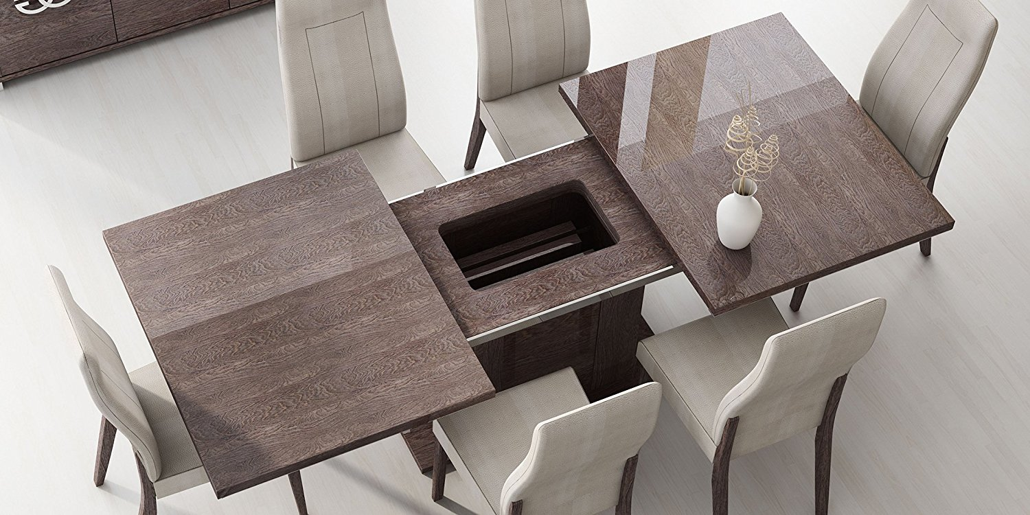 ESF Prestige High Gloss Wenge Lacquer Dining Room Set 5Pcs Status Made in Italy