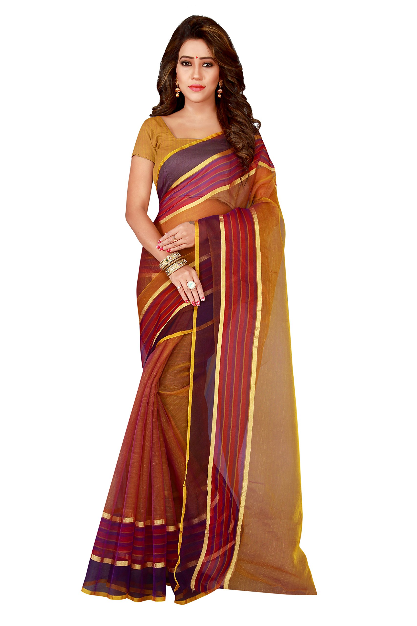 Shonaya Indian Women`S Party Wear Art Silk Saree With Unstitched Blouse Piece (Brown)