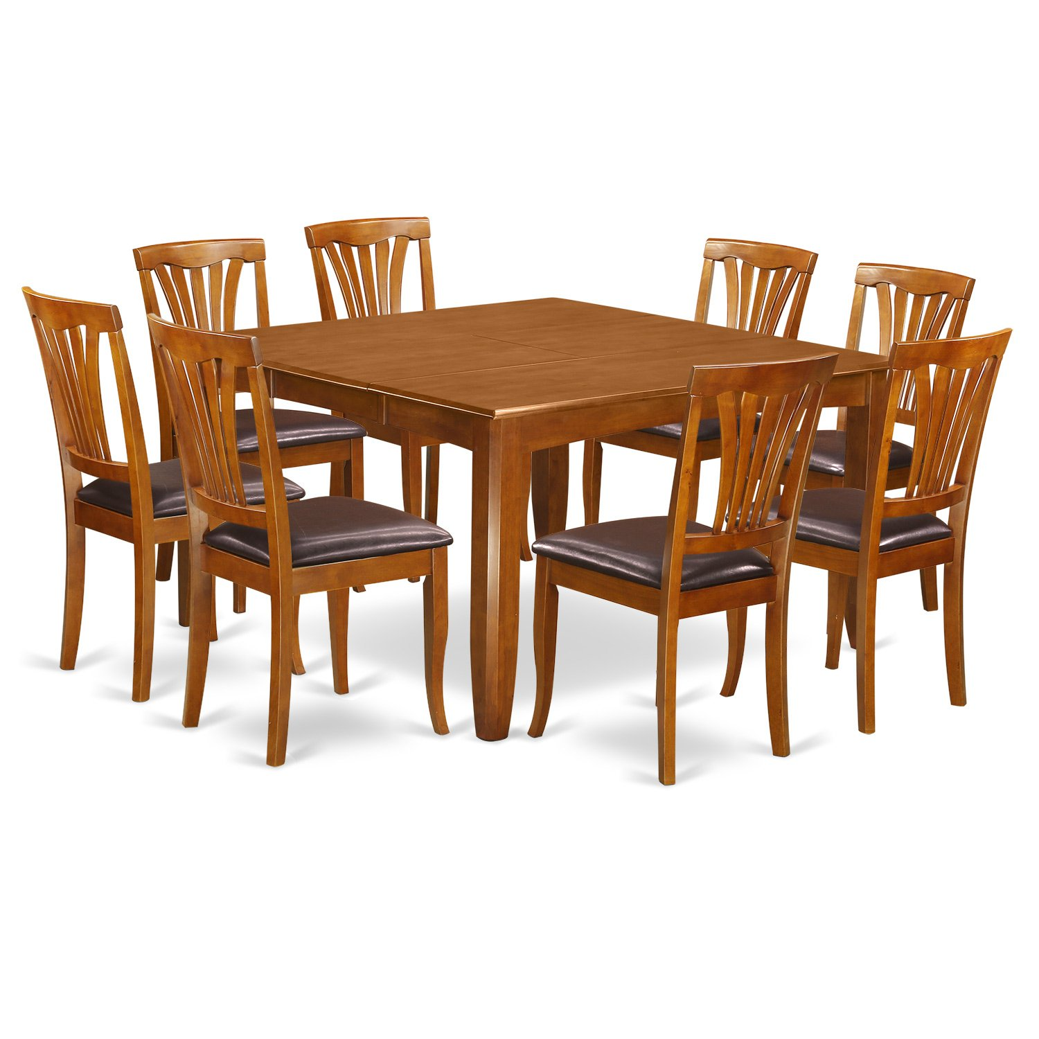 East West Furniture PFAV9-SBR-LC 9 Pc Dining Room Set-Table with Leaf and 8 Dining Chairs.