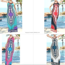 fashion retro HIPPIE BOHO dashiki african polyester dress wooden necklace halter style ART PATTERN maxi long dress wholesale