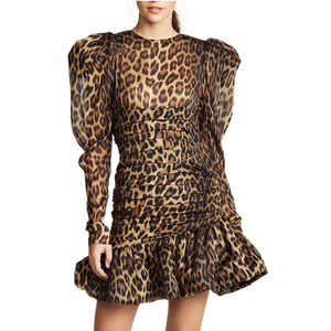 Leopard Print Crew Neck Long Sleeve Dress Ruffled Casual Fall Dresses