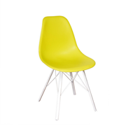 Coffee shop plastic yellow/ grey dining chair, contemporary dining room seat pad PP chair with solid legs (Vinaoffice)