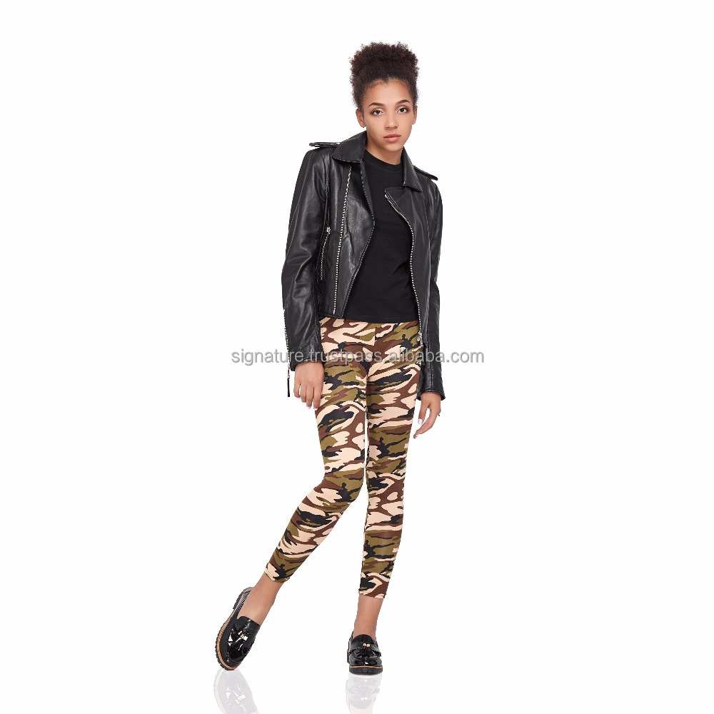Womens Camo Leggings Military Camouflage Tights Elastic Pants Adult Size Footless Pantyhose Cotton Stretch Army Print Trousers
