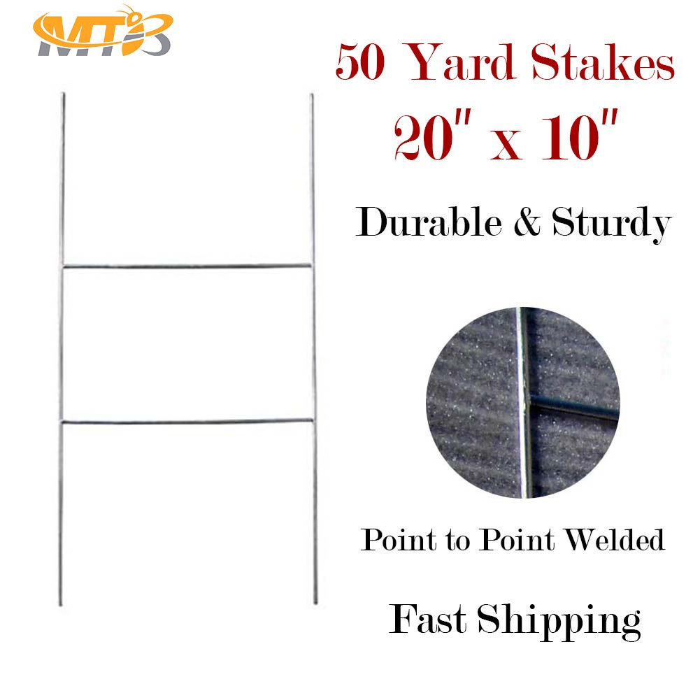 "MTB H Frame Wire Stakes 20""x10"" 9ga Wire, Pack of 50 - Yard Sign Stakes (Also Sold in Pack of 10/25/100)"