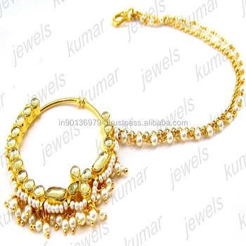 Gold Plated Round Handmade Kundan Stone Pearl Beaded Nath Nose