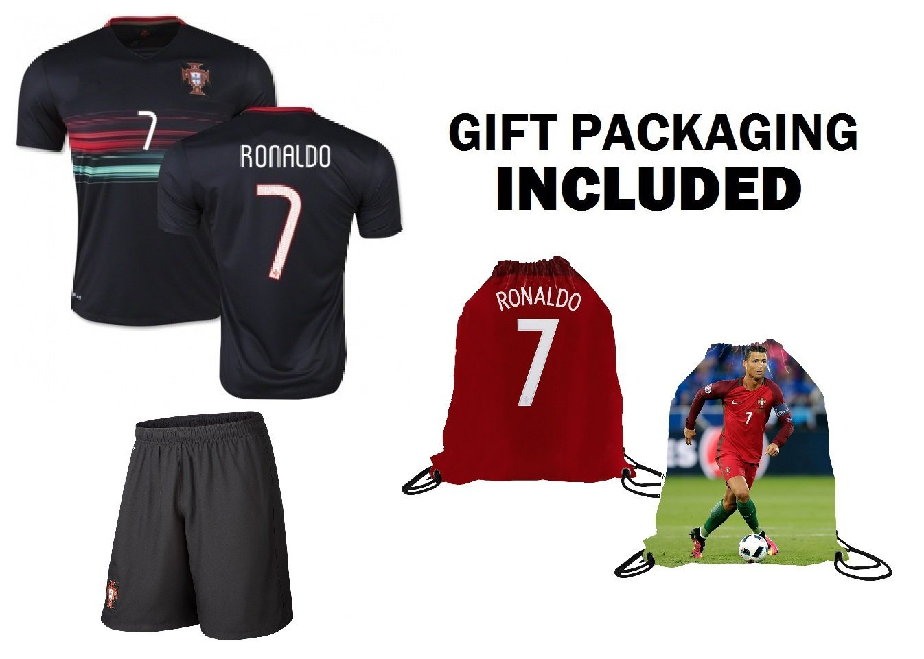 1cd7179df13 Get Quotations · Fan Kitbag Ronaldo  7 Portugal Away Short Black Sleeve Youth  Soccer Jersey   Shorts Kids