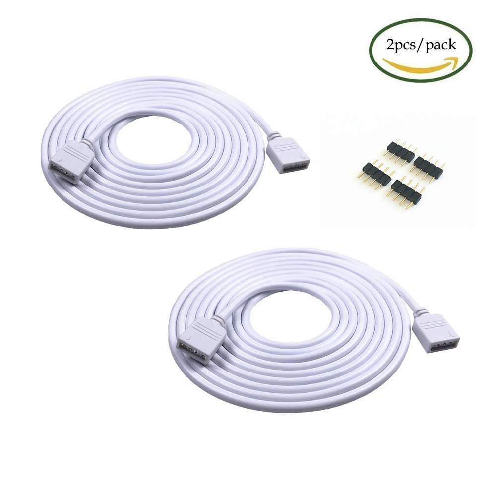 2PCS 5M 16.4ft 4 Color RGB Extension Cable LED Strip Connector Extension Cable Cord Wire 4 Pin LED Connector for SMD 5050 3528 2835 RGB LED Light Strip (2PCS)