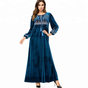 56bfe2b250 7203 Apparel long flannel appliqued o-neck long sleeve kaftan muslim abaya  party vintage muslim