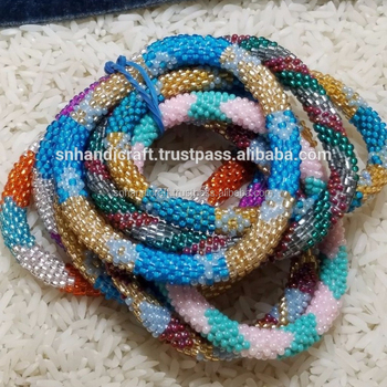 Nepal Bracelet Gl Beads Handmade Crochet Bracelets Beaded Roll On