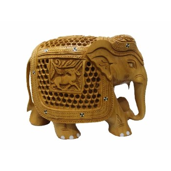Indian Designer Wooden Handicraft Hand Carving Elephant Best Home