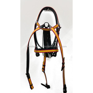 Red and Yellow Patented Spanish Bridle with Black Leather Mosquero and BreastPlate set