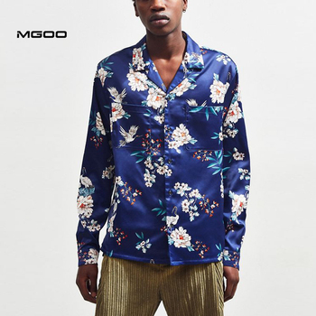 MGOO Latest design floral printing satin button down shirt Custom Imitated silk cheap men long sleeve shirt