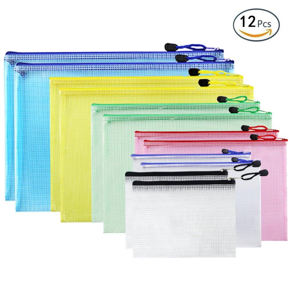 APLANET 12pcs 6-Sized Zipper Folder Mesh Document Pouches Storage Zipper Bag (6 Colors), Office Supplies, Travel Storage Bags