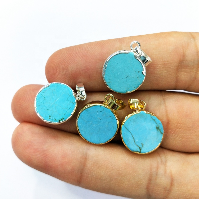 Wholesale Round silver Gold Plated Natural Copper Turquoise Pendant 12mm Coin Blue Genuine Turquoise Gemstone Charm Making Jewel