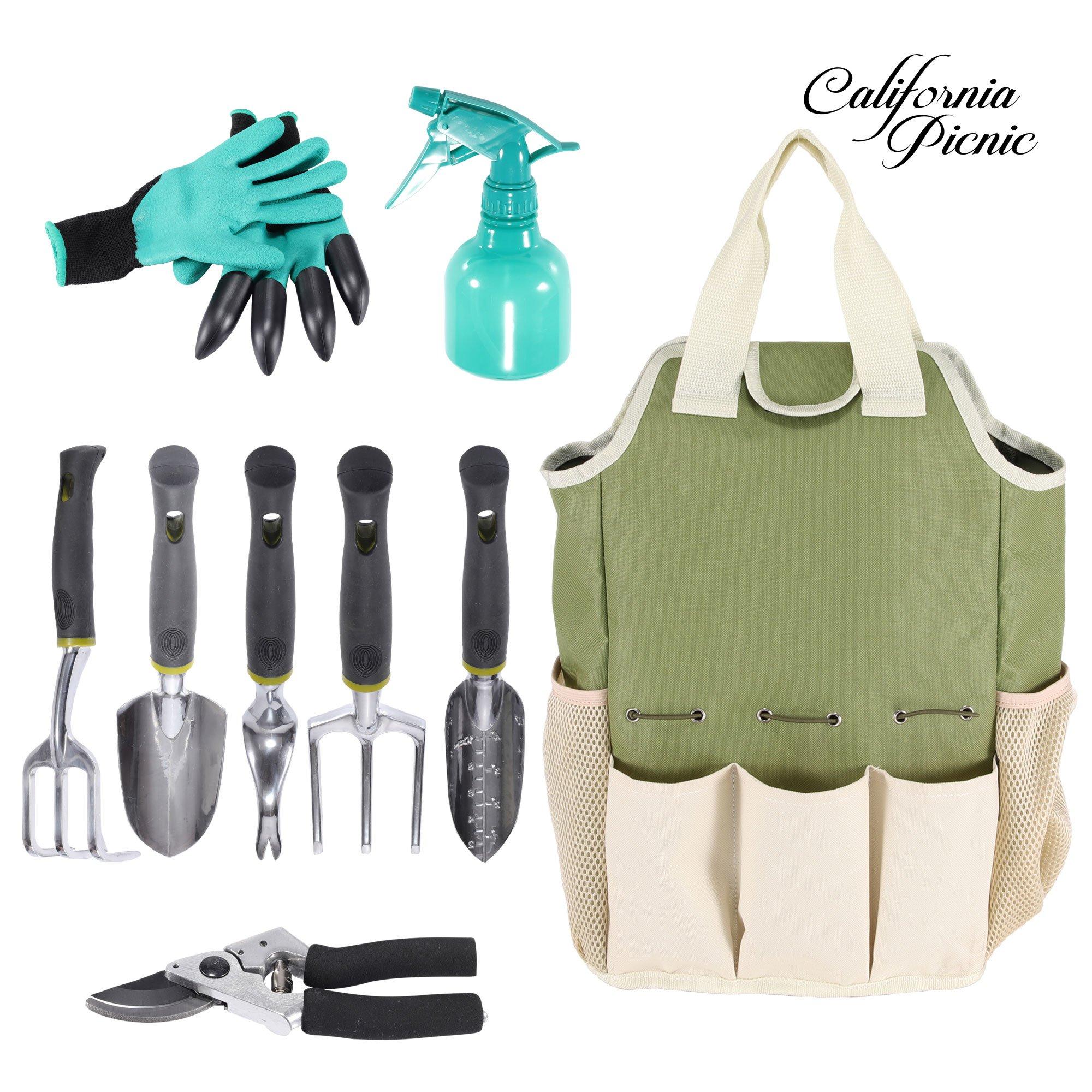 Gardening Tools Set | Garden Tool Organizer Tote | Gardening Gloves Included Great Garden Tools for Woman and Men | 9 Piece Garden Accessories Tool Organizer Kit | Gardening Gifts | Gardeners Supply