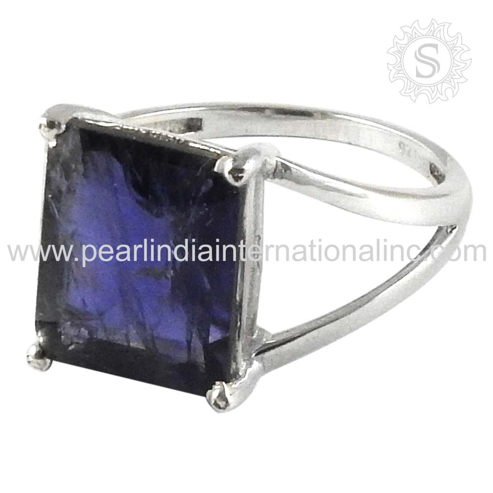 Blue iolite gemstone silver rings 925 sterling silver wholesale rings indian jewelry exporters