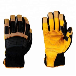 Customized Grain Cowhide Palm Split Cowhide Back Safety Working Leather Gloves For Men/ Protection Heavy Duty Mechanic Anti Impa