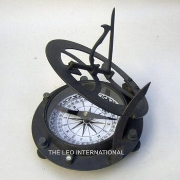 Black color brass metal sundial compass