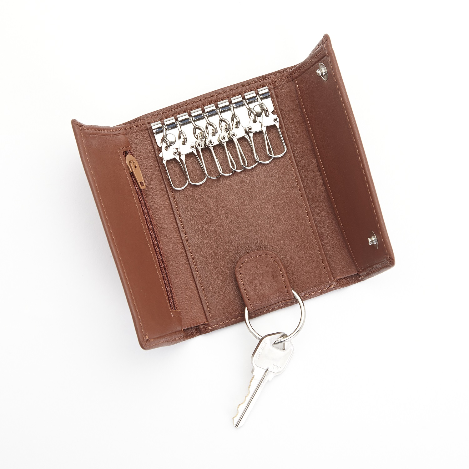 Key Case Leather PU Customizable Zipper With 6 Key Hooks