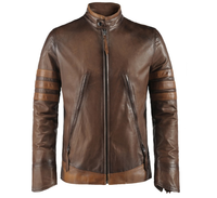 Biker/Wolverine/Fashion Cow hide/Napa/sheep leather Slim Fit boys men Jacket OEM accepted