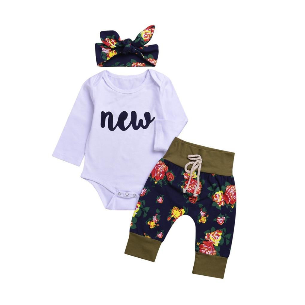 ac79e101984 Get Quotations · Gotd Toddler Infant Baby Girl Boy Clothes Winter Long  Sleeve Floral Romper+Pants+Headband