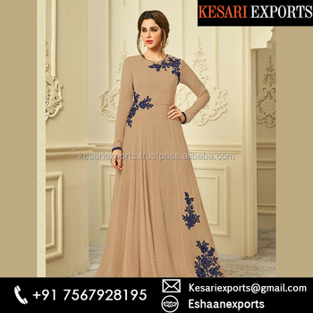 Brown Georgette Party Wear Embroidery Work Gown Buy Ladies Party