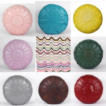 Pastel Colors Moroccan Handmade Genuine Leather Round Ottoman Poufs