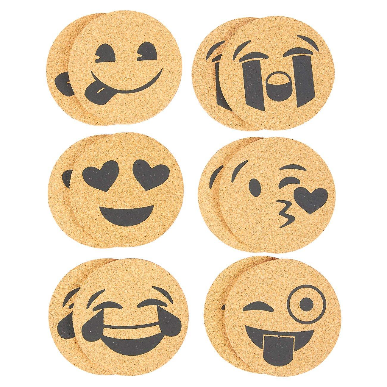 Juvale Pack of 12 Drink Coasters - Emoji Designed Cork Coasters, Funny Novelty Coasters for Cold Drinks, Hot Beverage, Bar Drinks Coaster Set - 6 Emoji Faces Assorted, 4 inches