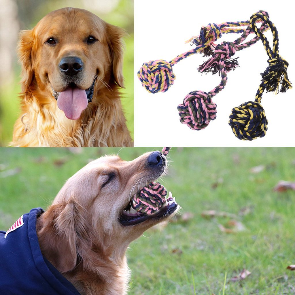 NNDA CO Lovely Puppy Dog Pet Chew Toy Cotton Braided Bone Rope Chew Knot Teeth Training,Cotton Rope