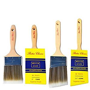 BATES CHOICE - Superior Paint Brushes (2 Piece), 3 and 2.5 Paint Brushes with cover, Paint Brush Set by Bates Choice