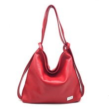 Italy Handmade Convertible Pure Red Backpack Genuine Leather Ladies Soft Hobo Bags