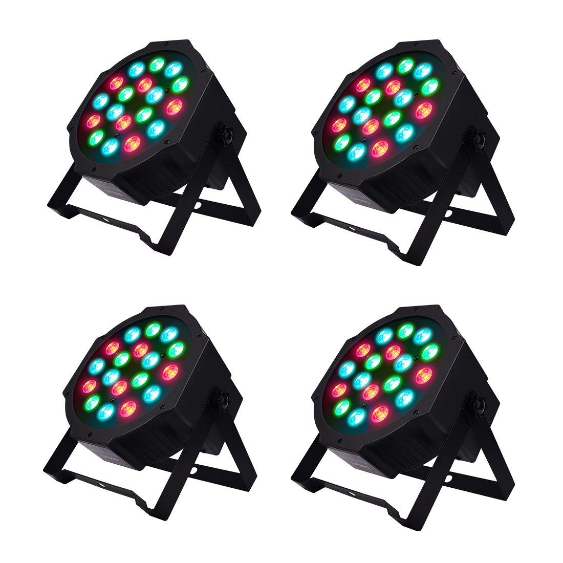 BETOPPER Par Lights DMX Controlled LED Par Light 18x1W RGB DJ PAR 64 Stage Lighting Party Lights (4pcs)