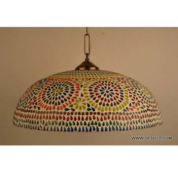 Glass Hanging Ceiling Light Lamp Vintage Stained Glass Light Hanging