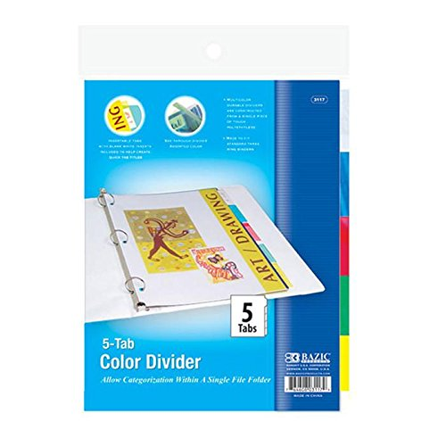 6 Pk, BAZIC 3-Ring Binder Dividers With 5-Insertable Color Tabs