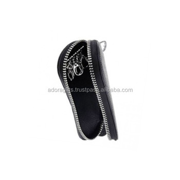Wholesale fashion leather zipper key holder   real leather key pouch  wallets   personalized leather metal d18996043