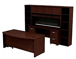 "Bush Executive Desk W/Credenza & Hutch Bow Front Desk: 29 7/8""H X 71""W X 36 1/8""D Credenza: 29 7/8""H X 71""W X 36""D Hutch: 43""H X 71""W X 15 3/8""D Bookcases: 17 7/8""W X 72 3/48""H - Mocha Cherry"