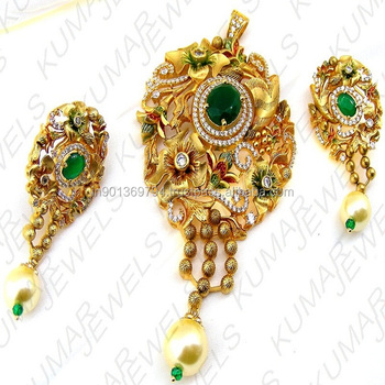 Designer latest gold plated fine emerald color cz stone pearl drop designer latest gold plated fine emerald color cz stone pearl drop indian fashion colorful 2017 pendant aloadofball Image collections